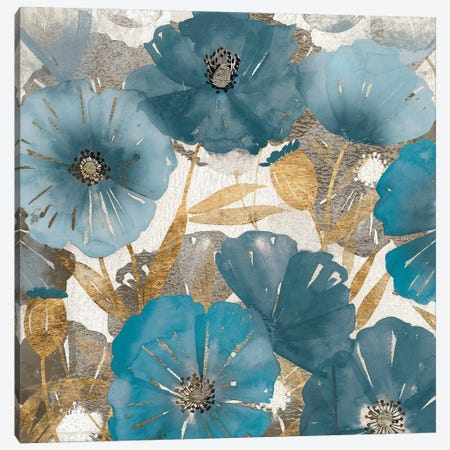 Blue and Gold Poppies I Canvas Print #STW125} by Studio W Canvas Wall Art