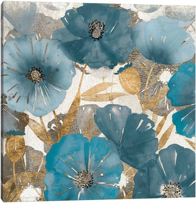 Blue and Gold Poppies I Canvas Art Print