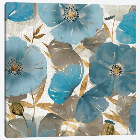 Blue and Gold Poppies II Canvas Print #STW126} by Studio W Canvas Wall Art