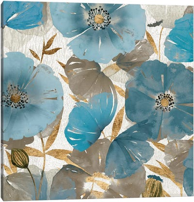 Blue and Gold Poppies II Canvas Art Print