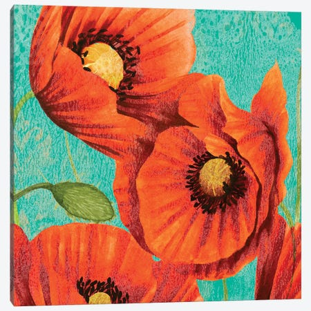Red Poppies on Teal II Canvas Print #STW134} by Studio W Canvas Print