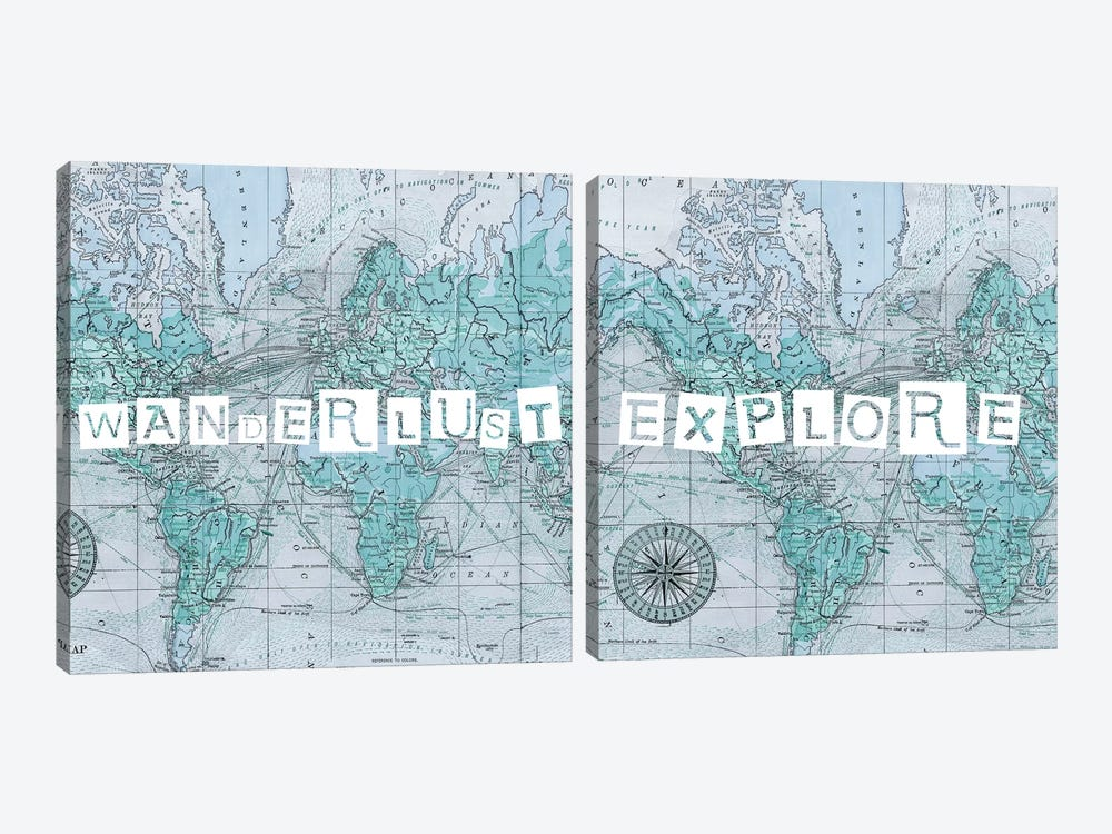 Map Words Diptych 2-piece Canvas Art Print