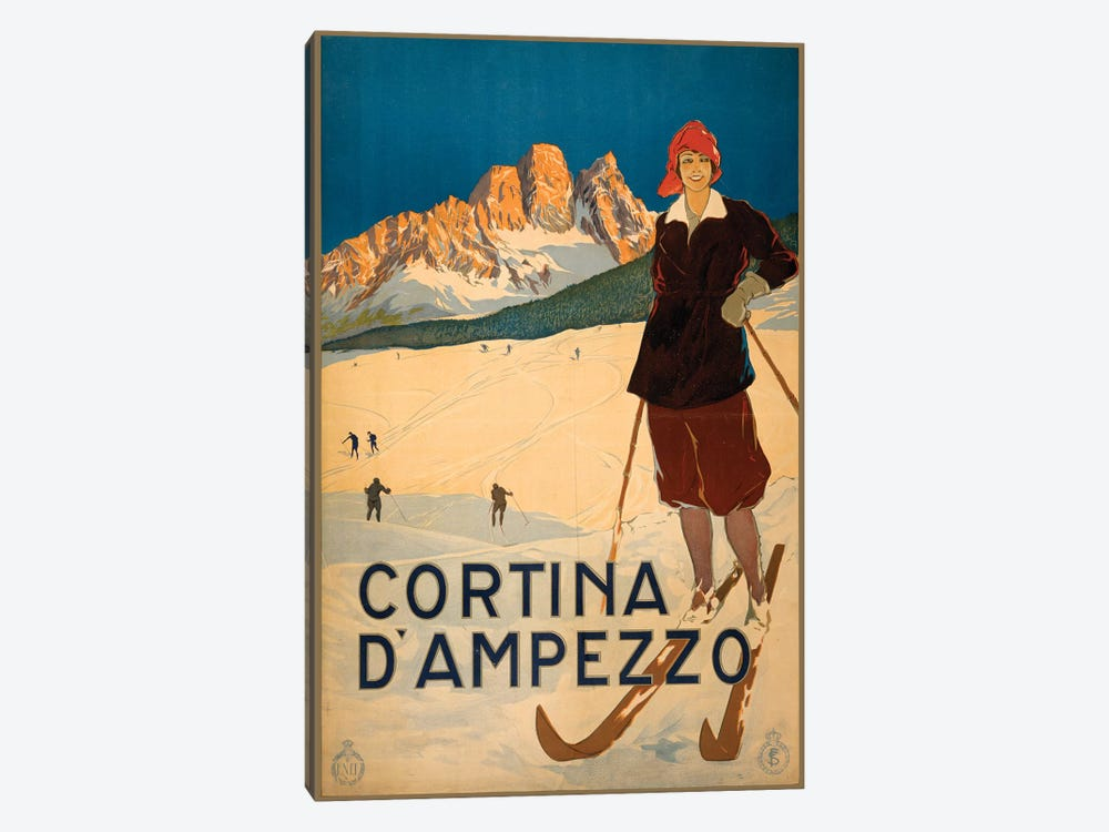 Cortina d'Ampezzo Travel Poster by Studio W 1-piece Canvas Wall Art