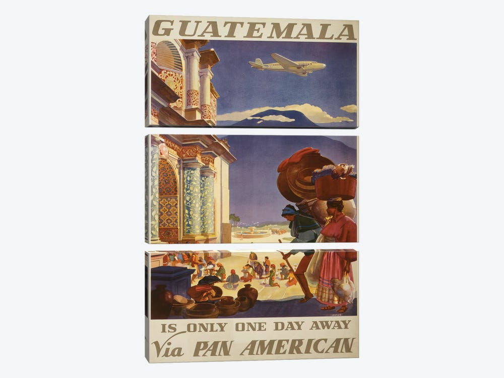 Guatemala Travel Poster by Studio W 3-piece Canvas Wall Art