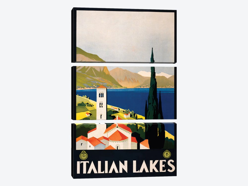 Italian Lakes Travel Poster by Studio W 3-piece Canvas Art Print