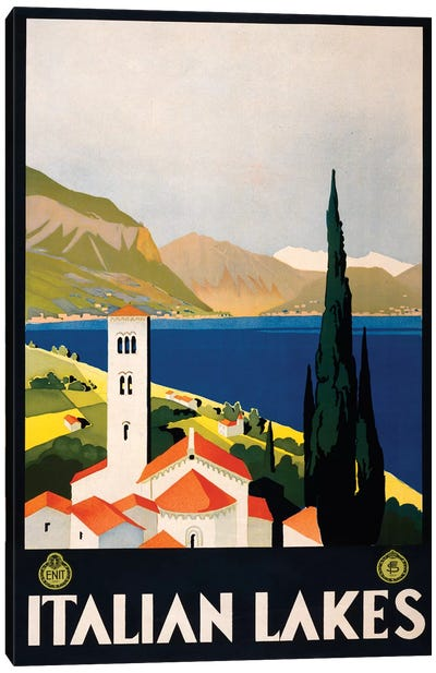 Italian Lakes Travel Poster Canvas Art Print