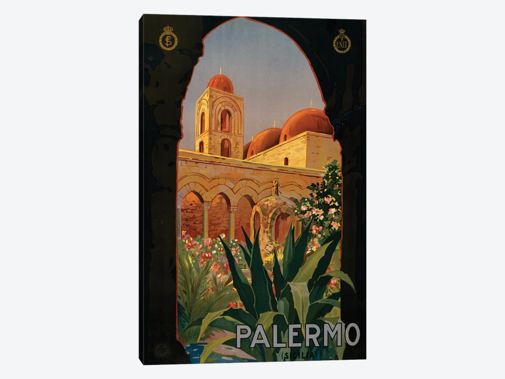 Palermo Travel Poster by Studio W 1-piece Canvas Art Print