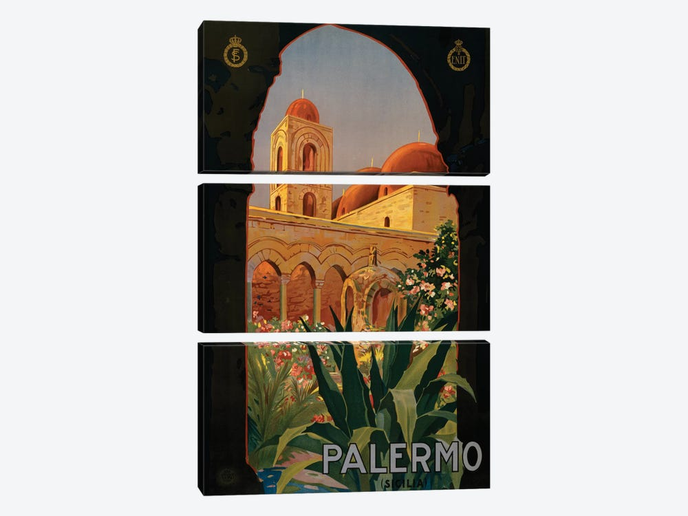 Palermo Travel Poster by Studio W 3-piece Canvas Art Print