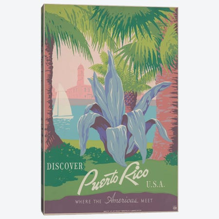 Puerto Rico Travel Poster II Canvas Print #STW38} by Studio W Canvas Print