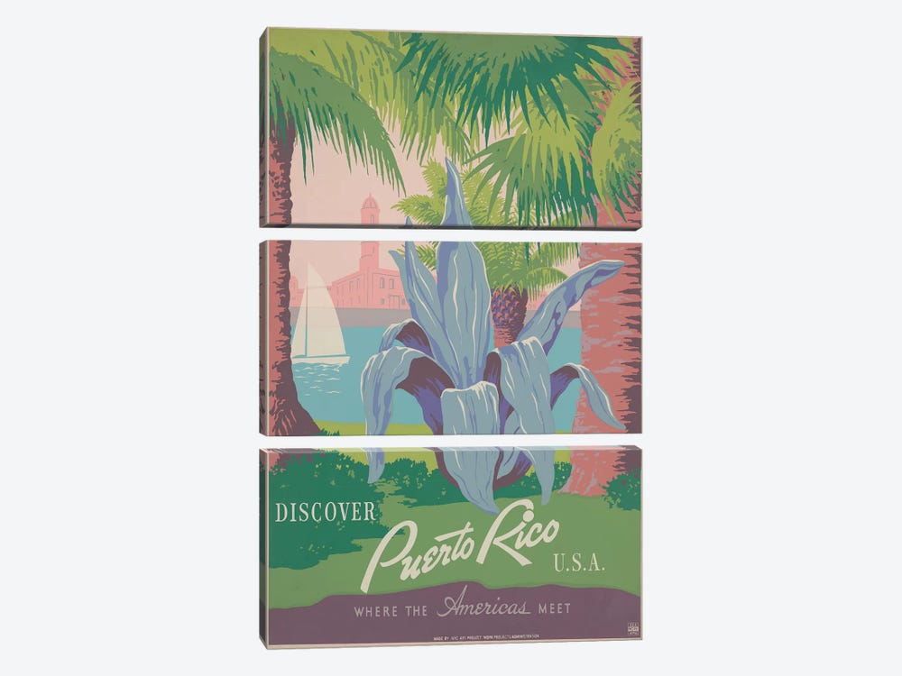 Puerto Rico Travel Poster II by Studio W 3-piece Canvas Print