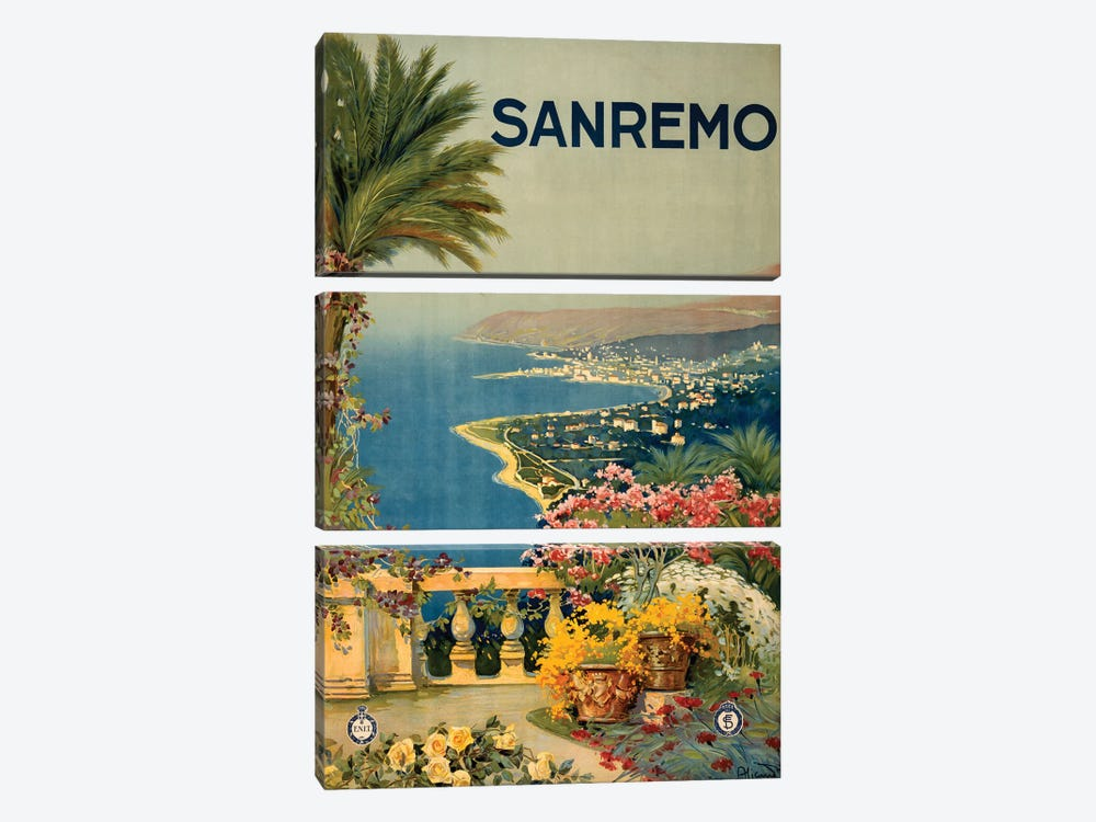 San Remo Travel Poster by Studio W 3-piece Canvas Art