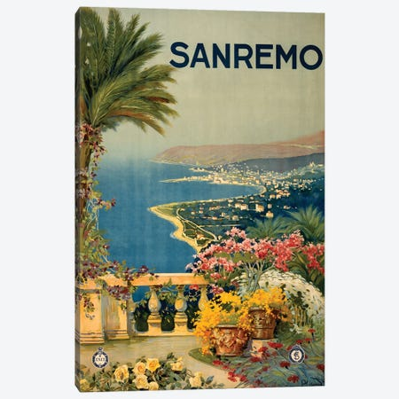 San Remo Travel Poster Canvas Print #STW40} by Studio W Canvas Wall Art