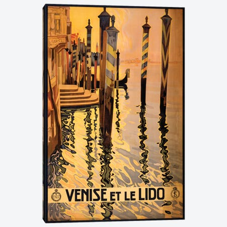 Venise Et Le Lido Travel Poster Canvas Print #STW42} by Studio W Canvas Artwork