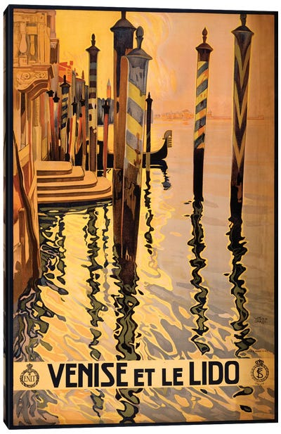 Venise Et Le Lido Travel Poster Canvas Art Print
