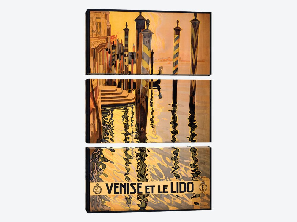 Venise Et Le Lido Travel Poster by Studio W 3-piece Canvas Wall Art