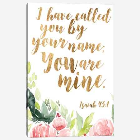 Grace Words Floral I Canvas Print #STW66} by Studio W Canvas Art Print