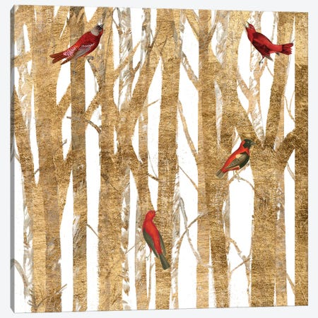 Red Bird Christmas II Canvas Print #STW99} by Studio W Canvas Print