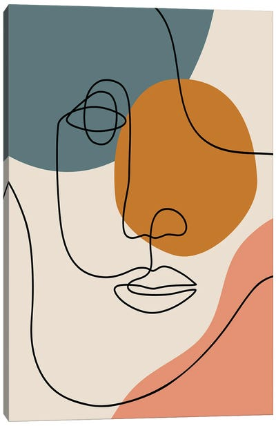 Abstract Face Line Drawing Canvas Art Print