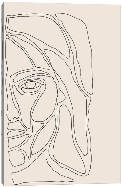 Abstract Face Lines II Canvas Art Print