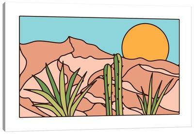 Minimal Desert Sunset Landscape Canvas Art Print