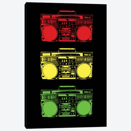 Boom Box Cubed Rasta Canvas Print #STZ12} by Steez Canvas Wall Art