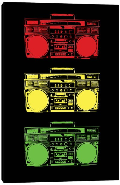 Boom Box Cubed Rasta Canvas Art Print