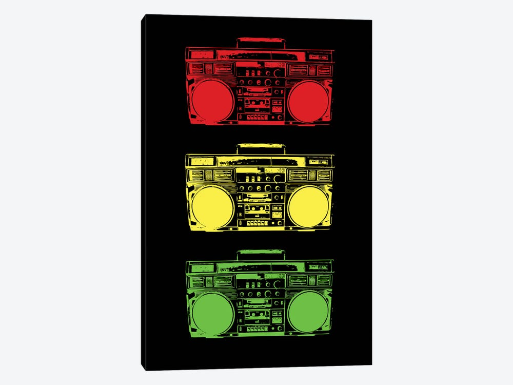 Boom Box Cubed Rasta by Steez 1-piece Canvas Artwork