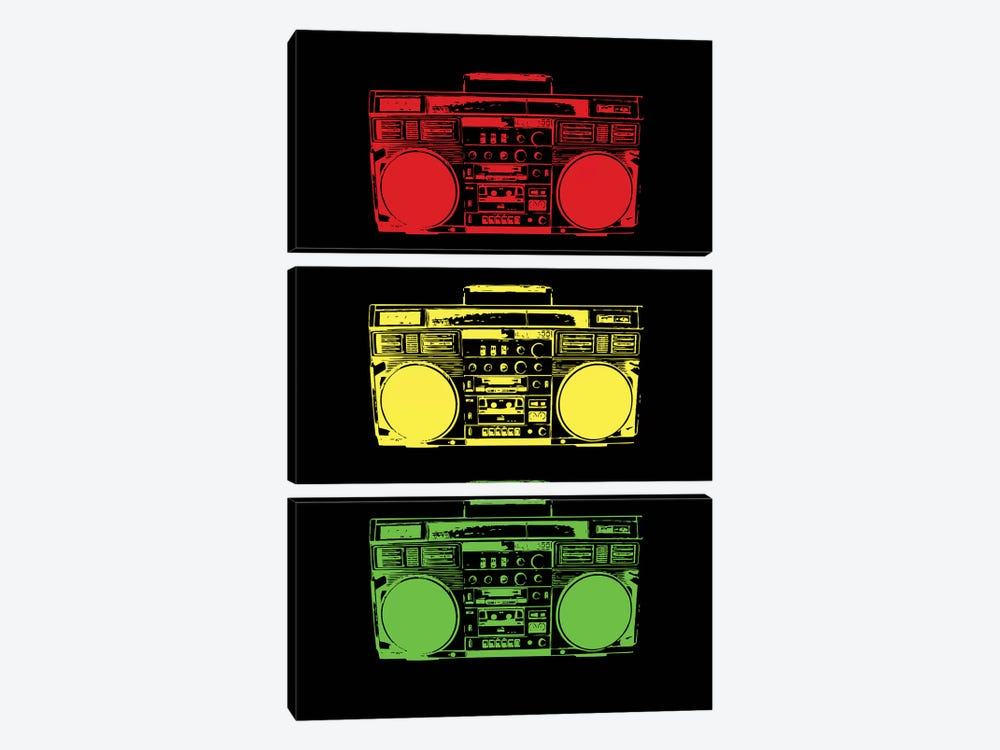 Boom Box Cubed Rasta by Steez 3-piece Canvas Artwork