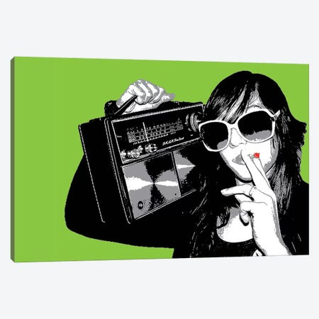 Boombox Joint Green Canvas Print #STZ13} by Steez Canvas Art