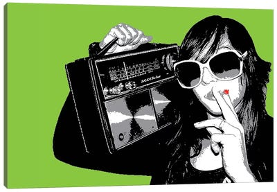 Boombox Joint Green Canvas Art Print
