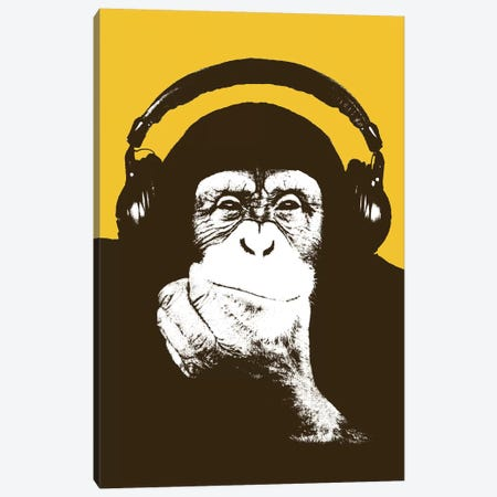 Headphone Monkey Canvas Print #STZ34} by Steez Canvas Art Print