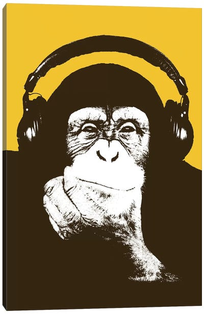 Headphone Monkey Canvas Art Print