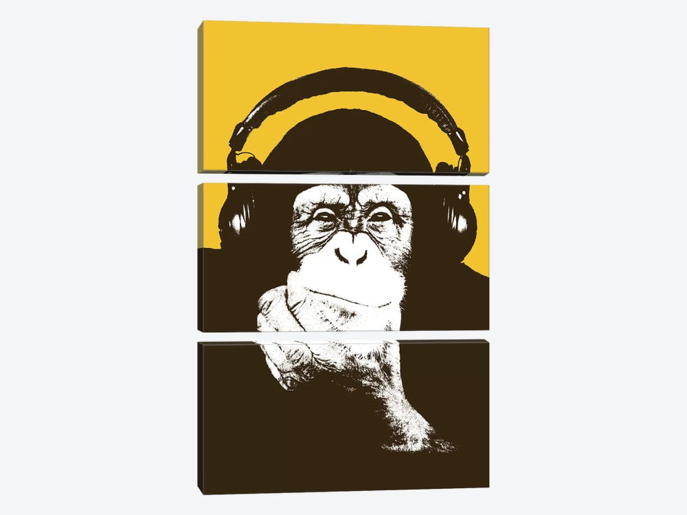 Headphone Monkey by Steez 3-piece Canvas Art