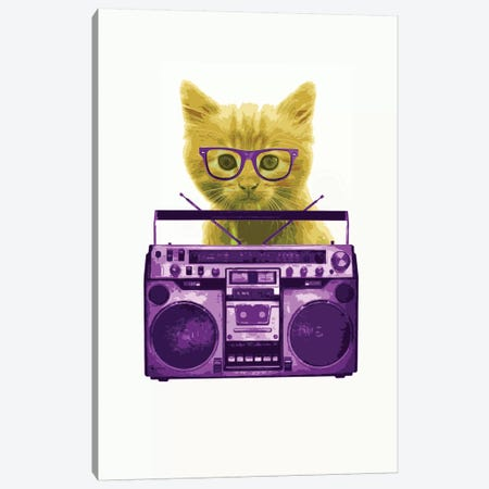 Hipster Kitty Canvas Print #STZ36} by Steez Canvas Print