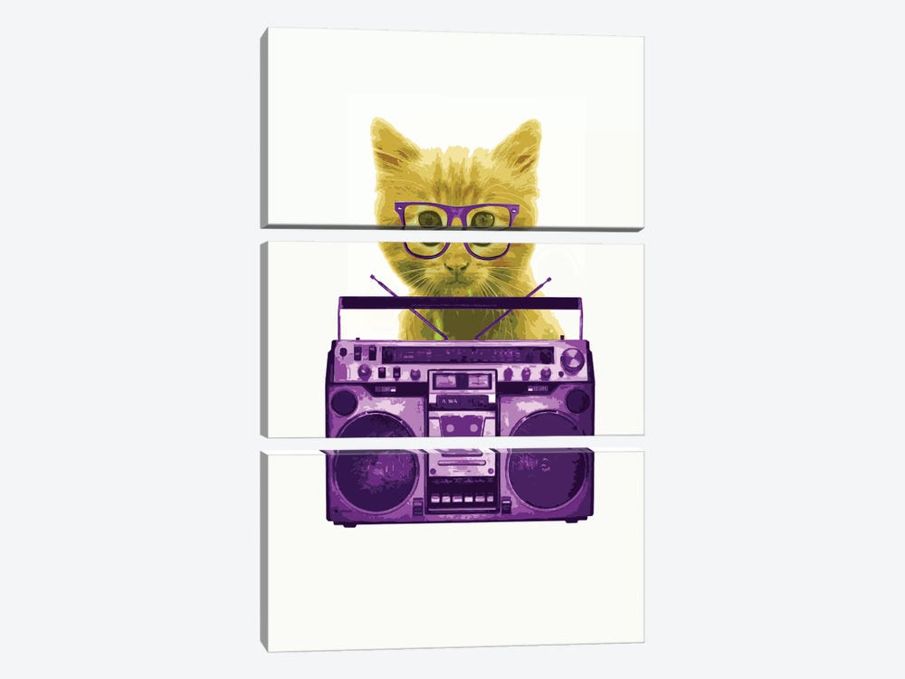 Hipster Kitty 3-piece Canvas Wall Art