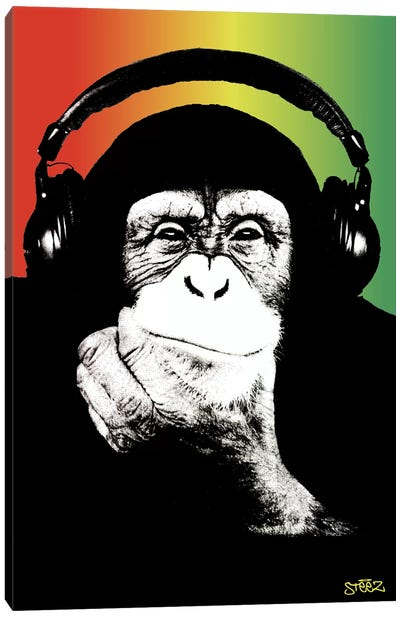 Monkey Headphones Rasta I Canvas Art Print