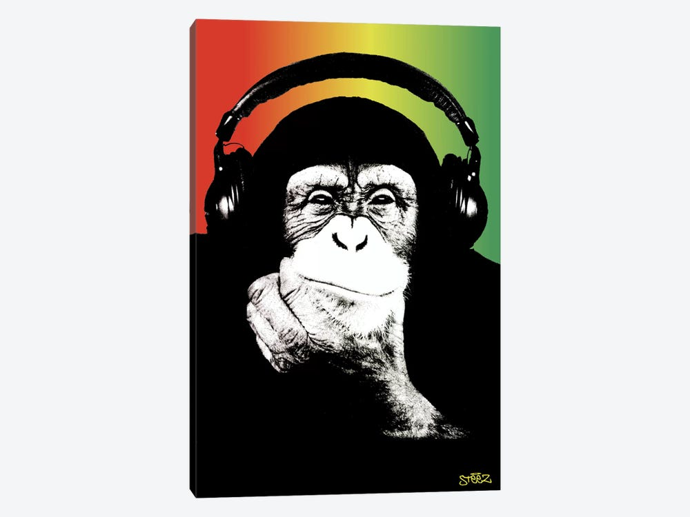 Monkey Headphones Rasta I by Steez 1-piece Canvas Artwork
