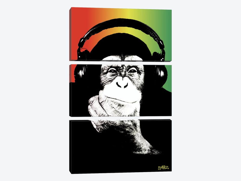 Monkey Headphones Rasta I by Steez 3-piece Canvas Wall Art