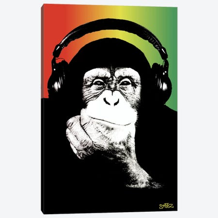 Monkey Headphones Rasta I 3-Piece Canvas #STZ49} by Steez Canvas Print