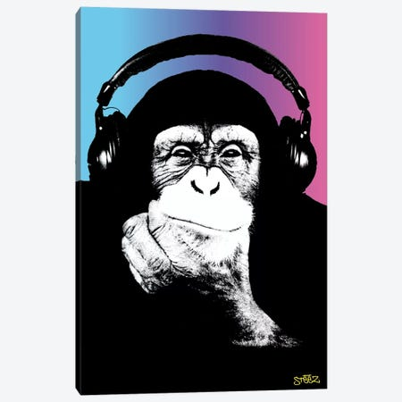 Monkey Headphones Rasta II Canvas Print #STZ50} by Steez Canvas Art
