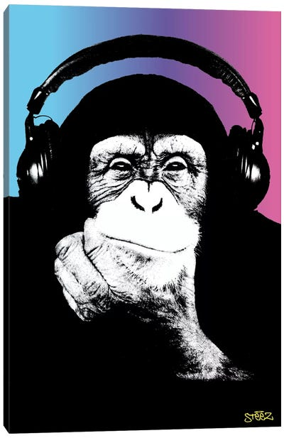 Monkey Headphones Rasta II Canvas Art Print