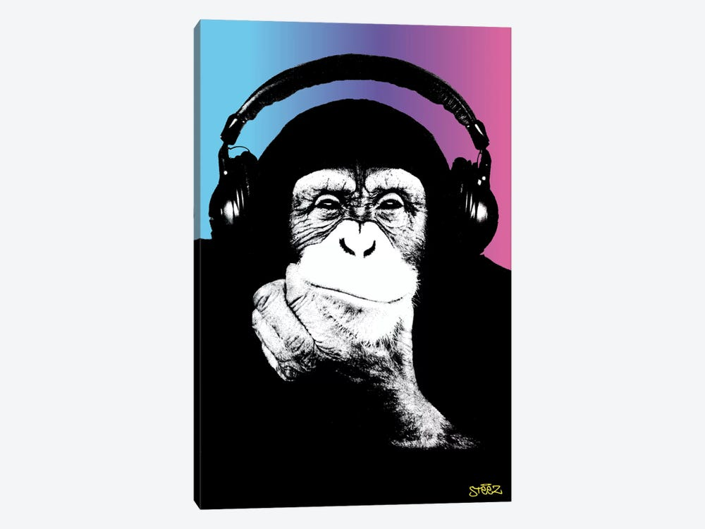 Monkey Headphones Rasta II by Steez 1-piece Canvas Artwork