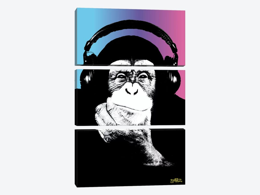 Monkey Headphones Rasta II by Steez 3-piece Canvas Wall Art