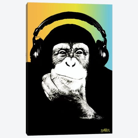 Monkey Headphones Rasta III Canvas Print #STZ51} by Steez Canvas Artwork