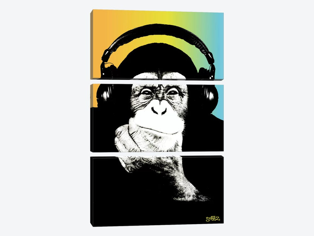 Monkey Headphones Rasta III by Steez 3-piece Canvas Print