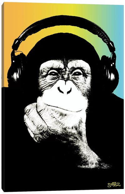 Monkey Headphones Rasta III Canvas Art Print
