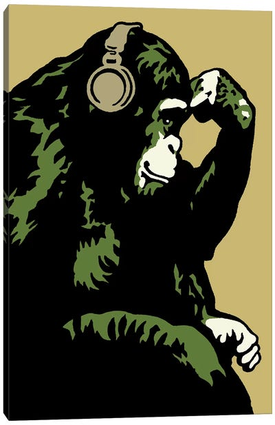 Monkey Thinker Army Canvas Art Print