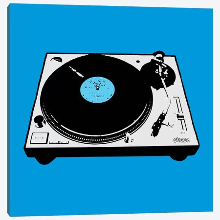 Turntable Blue Poster Canvas Print #STZ72} by Steez Canvas Art