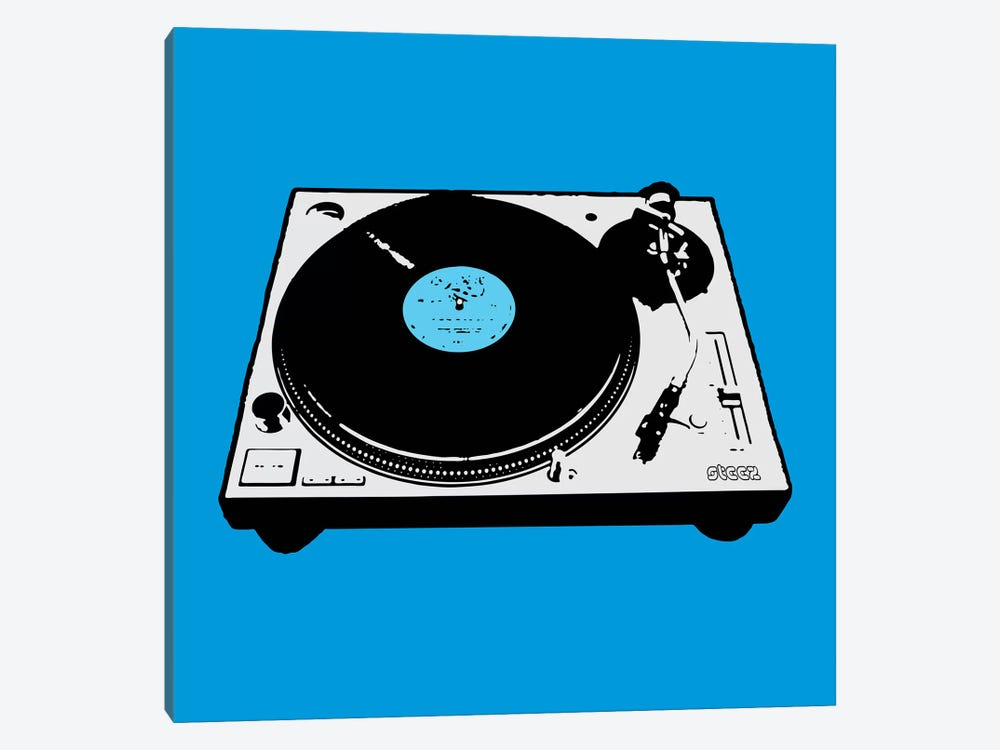 Turntable Blue Poster by Steez 1-piece Canvas Wall Art