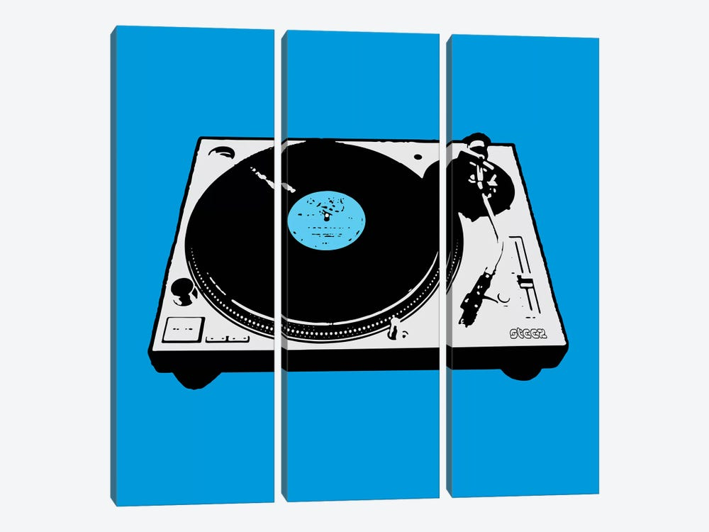 Turntable Blue Poster by Steez 3-piece Canvas Wall Art